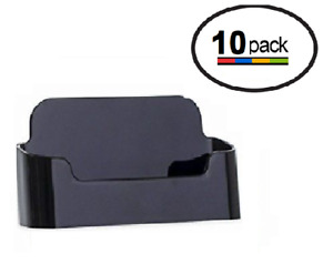 10 Black Acrylic Plastic Business Card Holder Displays Deflecto Style
