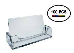 100 Pk Acrylic Plastic Business Card Holder T z Tagz Style Clear Display Stand