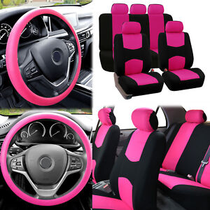 Flat Cloth Car Seat Covers Pink Black 2 Row Set W Silicone Steering Wheel Cover