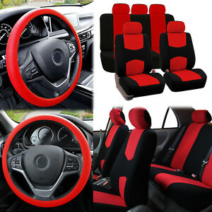 Flat Cloth Car Seat Covers Red Black 2 Row Set W Silicone Steering Wheel Cover