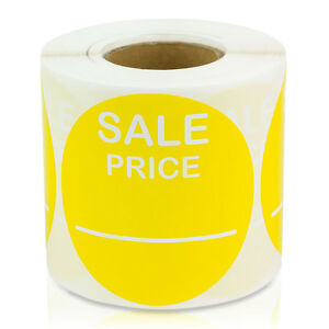 Sale Price 2 Round Pricing Retail Store Stickers Tags Labels yellow 10 Rolls