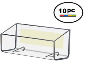 10 Pk Clear Acrylic Plastic Peel Stick Wall Mount Business Card Holder Display