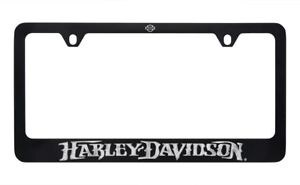 Harley Davidson Matte Black Brass Engraved License Plate Frame Holder 2 Hole