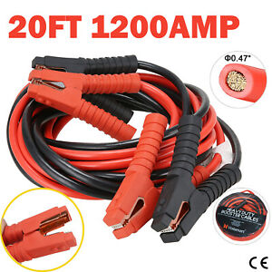 1200amp Booster Jumper Cables 20ft Heavy Duty Power Starter 1 Gauge Car Van Lead