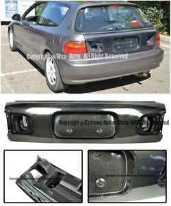 For 92 95 Honda Civic Hatchback Jdm Factory Carbon Fiber Rear Trunk Lid Cover