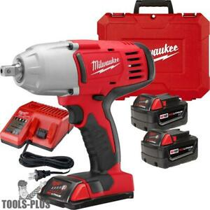 Milwaukee 2662 22 18 Volt 1 2 High Torque Impact Wrench Kit W Detent Pin New