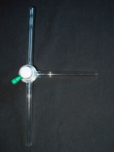 Chemglass 12mm Od 3 way Glass Stopcock With 6mm T bore Ptfe Plug Chipped
