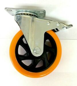4 Heavy Duty 5 Swivel Caster Plate Polyurethane Wheels With Locking Brake