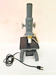 Vtg Bausch Lomb Sta Monocular Microscope 43x 10x W attached Light Source