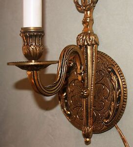 Vintage Brass Lighted Wall Sconce