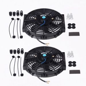 2x 14 Inch Universal Electric Radiator Cooling Fan Thermostat Mount Kit Black