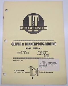 Oliver Minneapolis Moline Manual 2255 G955 G1355 Tractor O 26 Repair Service