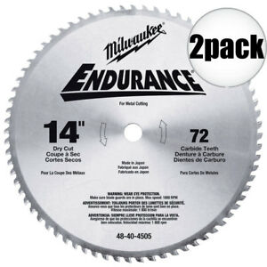 Milwaukee 48 40 4505 2pk 14 X 72 Tooth Dry Cut Circular Saw Blade New