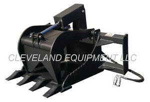 New Stump Grapple Bucket Attachment Skid Steer Loader Bobcat Gehl Case Takeuchi