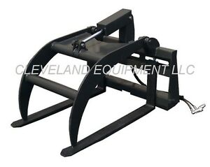 New Hd Hydraulic Fork Grapple Skid steer Loader Attachment Tine Log Root Pallet