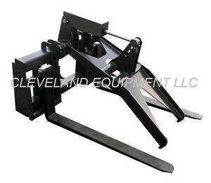 New Adjustable Pallet Fork Grapple Attachment Skid Steer Loader Log Tree Bucket