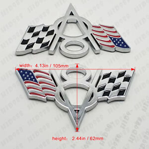 2x V8 Flag Emblem Badge Sticker Alloy Chrome For Chevrolet Chevy Corvette Camaro