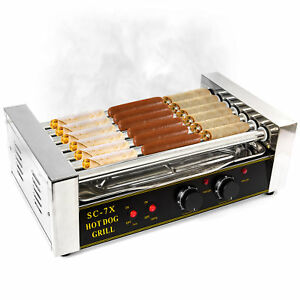 Hot Dog Grill Roller Commercial 18 Hotdog Maker Warmer Cooker Machine 7 rollers
