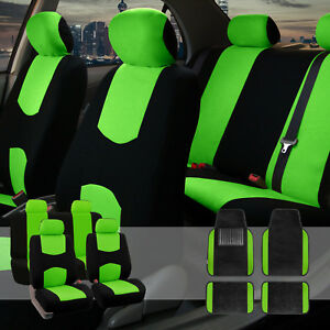 Flat Cloth Green Black 2 Row Car Seat Covers W premium Carpet Carpet Floor Mats