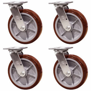 8 Heavy Duty Swivel Casters Polyurethane Wheel Non marking Set Of 4