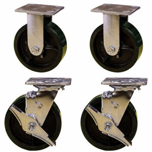 6 Heavy Duty Casters 2 Rigid 2 Swivel With Brake Green Polyurethane Tread