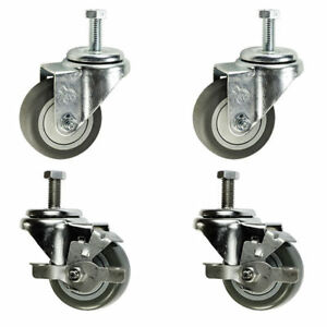 3 Inch Swivel Casters 2 With Brake 3 8 Threaded Stem 3 Non Marking