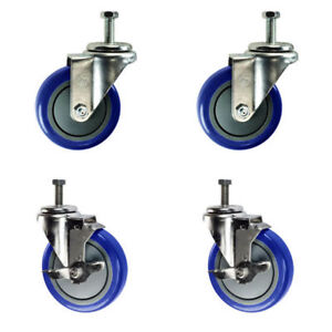 4 Inch Swivel Casters 2 With Brake 3 8 Threaded Stem 4 Non Marking Blue