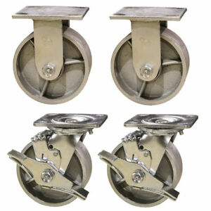 4 Heavy Duty Semi Steel Cast Iron Casters 2 Swivel W Brakes 2 Rigid 4 000