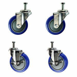 4 Inch Swivel Casters 2 With Brake 1 2 Threaded Stem 4 Non Marking Blue