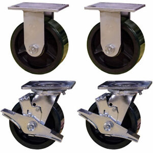 5 Heavy Duty Casters 2 Rigid 2 Swivel With Brake Green Polyurethane Tread