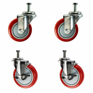 4 Inch Swivel Casters 2 With Brake 3 8 Threaded Stem 4 Non Marking Red