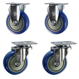 Service Caster 4 Blue Polyurethane Wheel 2 Swivel And 2 Rigid Casters