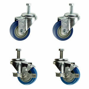 3 Inch Swivel Casters 2 With Brake 3 8 Threaded Stem 3 Non Marking Blue