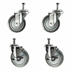 4 Inch Swivel Casters 2 With Brake 3 8 Threaded Stem 4 Non Marking