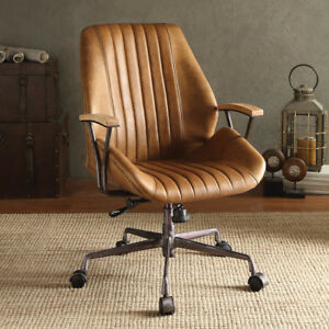 Harith Home Office Executive Chair Coffee Top Grain Leather Metal Base Wheels