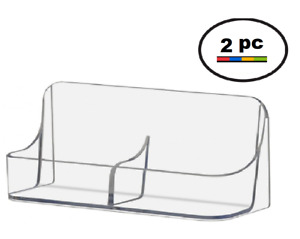 2 Acrylic Plastic Vertical Business Card Holder Displays Side By Side Clear