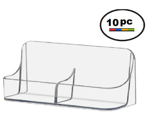 10 Acrylic Plastic Vertical Business Card Holder Displays Clear Side By Side
