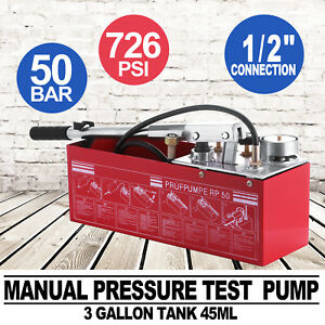 Hydraulic Manual Pressure Test Pump 800psi Brass Fitting Double Valves Newest
