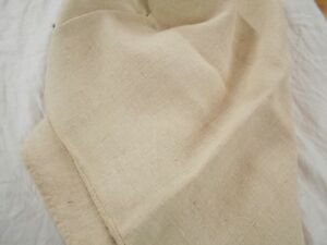 19x58 Vtg Antique Plain Cream Beige French Hemp Linen Fabric Feed Sack Grain Bag