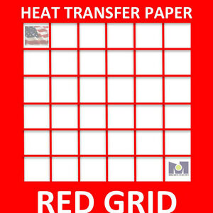 Inkjet Iron On Heat Transfer Paper Light 3000 Pk 8 5x11 1 Seller Red Grid