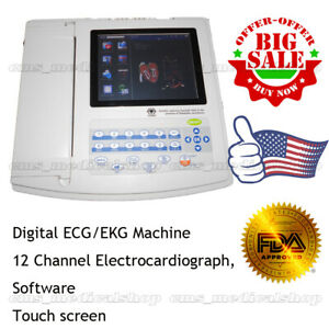 3 6 Days Delivery digital 12 Channel 12 Lead Ecg Ekg Touch Screen Pc Sw printer