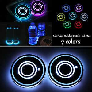 2x Cup Holder Bottom Pad Led Light Cover Trim Atmosphere Lamp For Car