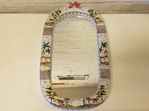 Hand Painted Pocelain Italian Wall Mirror With House And Floral Decorations