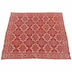 Antique Loom Woven Red And White Floral Jacquard Coverlet 19th Century