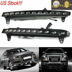 Led Drl Headlight For Audi Q7 Fog White yellow W turn Signal Running Light 07 09