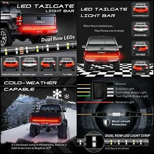 60 2 Row Led Truck Tailgate Light Bar Strip Red White Reverse Stop Trailers Rv