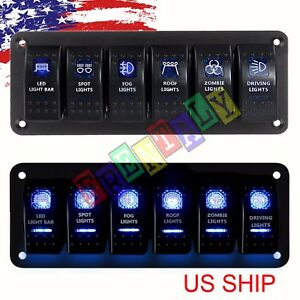 6 Gang Rocker Switch Panel Circuit Breaker Led Voltmeter Rv Car Marine Boat 12v