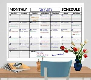 3 Pack Large Dry Erase Wall Calendar 3 Ft X 4 Ft Includes Expo Marker And
