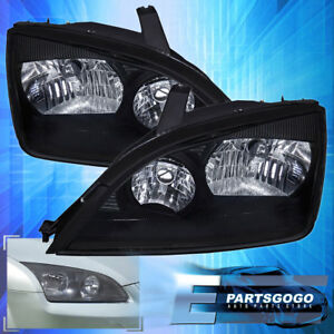 Black 2005 2007 Ford Focus Headlights Headlamps Clear Lens Left Right Pair
