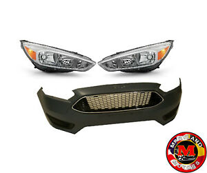 For 2015 2018 Ford Focus Bumper With Grills Headlights Set Fog Light Cover